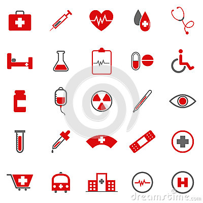 Medical color icons on white background