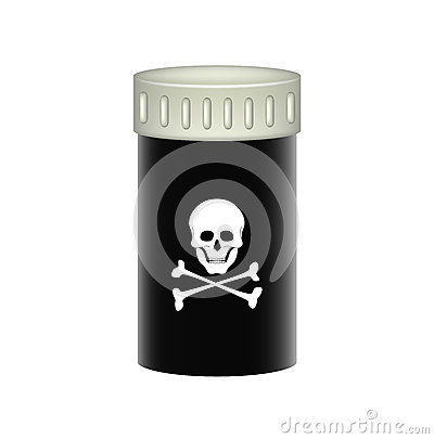 Medical container with danger sign