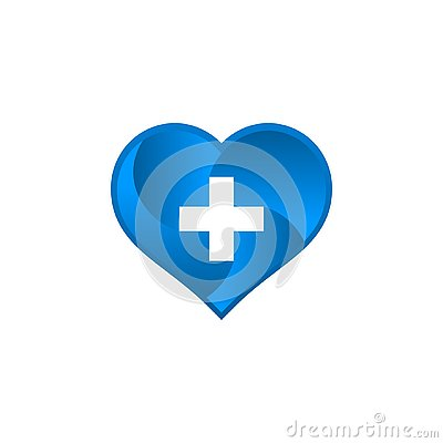 Medical logo with love shape. Stock Photo