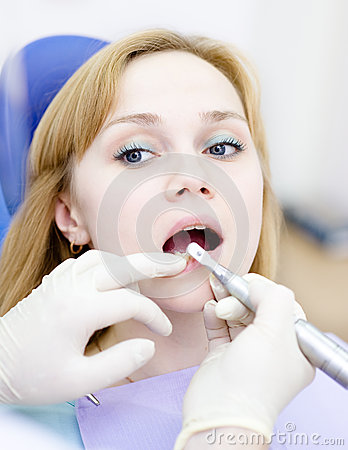 Medical dentist procedure of teeth polishing with
