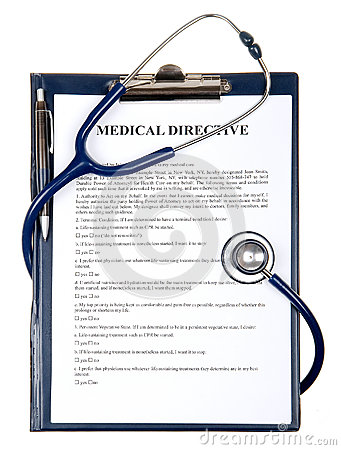 Medical directive document with stethoscope