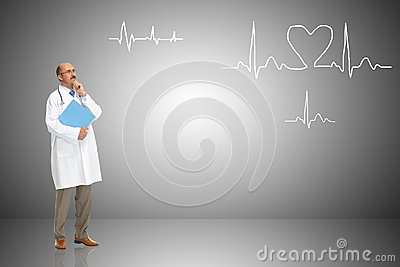 Medical doctor and cardiogram