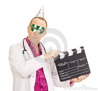 Medical doctor with a clapperboard