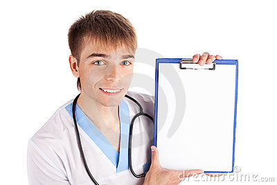 Medical doctor holding clipboard isolated on white