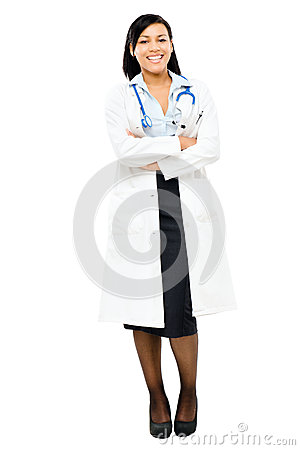 Medical doctor nurse mixed race isolated on white background