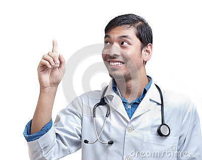 Medical Doctor Pointing Finger Upward