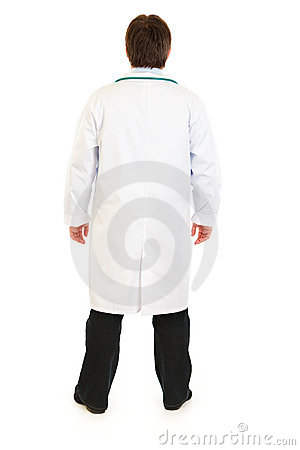 Medical doctor standing back to camera