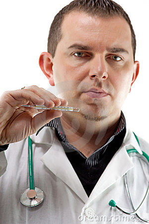 Medical doctor with thermometer