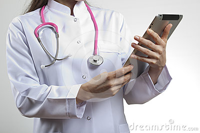 Medical doctor using tablet pc