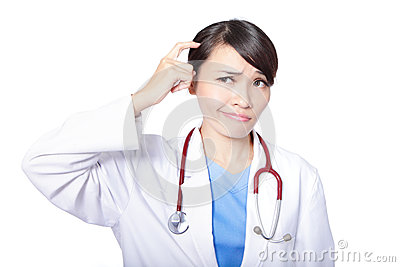 Medical doctor woman think