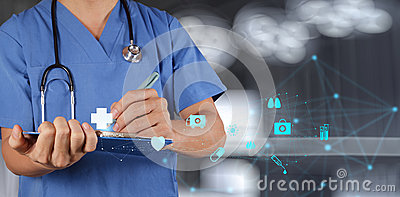 Medical Doctor working with note board Stock Photo