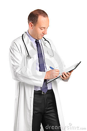 Medical doctor writing down notes