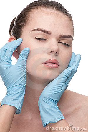 Medical examination face of beautiful woman