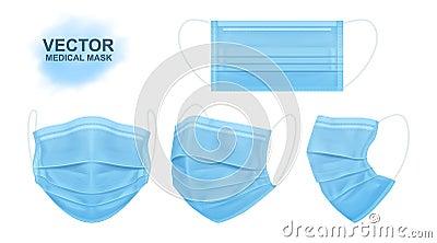 Medical face mask. Set of masks for the doctor or nurse. Vector Illustration