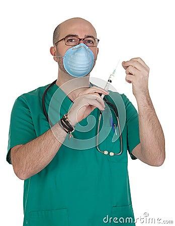 Medical green uniforms preparing a syringe