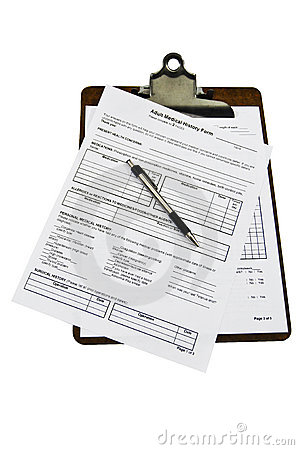 Free Medical History Forms On A Clipboard Royalty Free Stock Image - 18373136