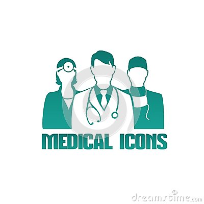 Medical icon with different doctors
