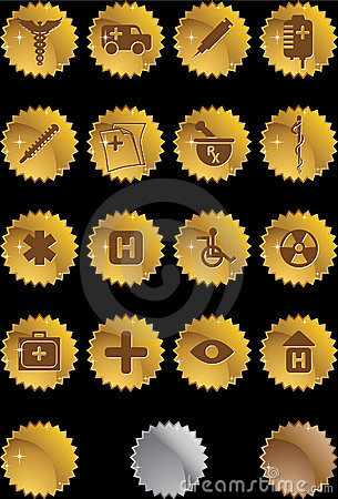 Medical Icon Set - Gold Label