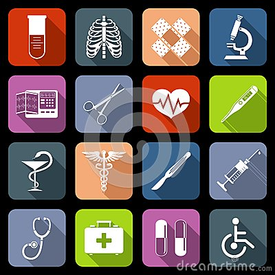 Free Medical Icons Flat Royalty Free Stock Photos - 41976968