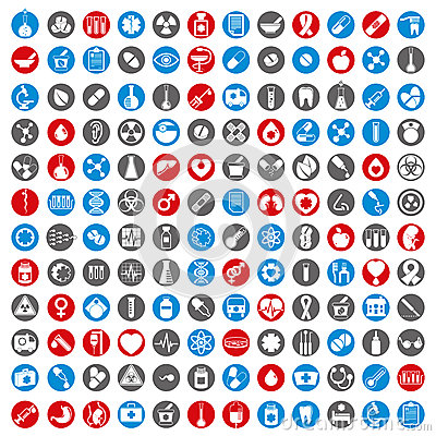 Free Medical Icons Set, 144 Medical Vector Signs Collection. Stock Photo - 45300240