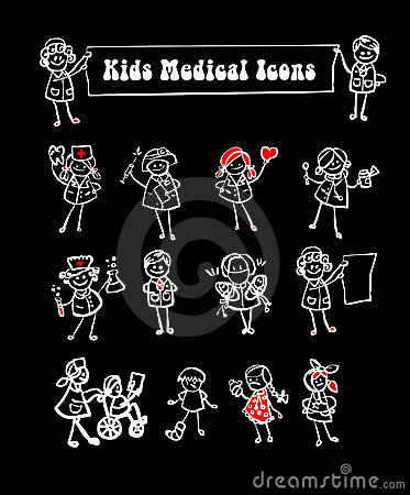 Medical icons set,kids