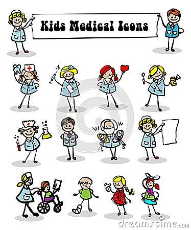 Medical icons set,kids
