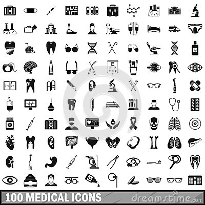 100 medical icons set in simple style Vector Illustration