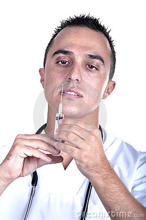 Medical man with syringe