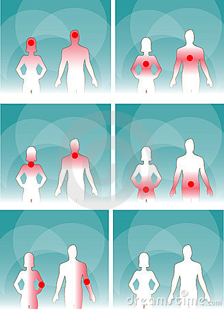 Medical man & woman, human body pain
