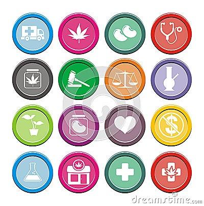 Free Medical Marijuana Icons - Round Icons Royalty Free Stock Image - 35550566