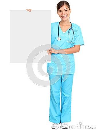 Medical nurse showing blank sign