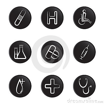 Medical object icon set
