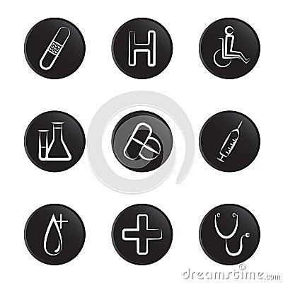 Medical object icon set