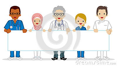 Multi Ethnic Female Medical Occupation Group Holding A Blank ...