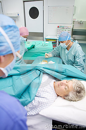 Medical operation in modern hospital