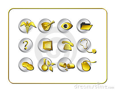 Medical & Pharmacy Icon Set - Golden 1