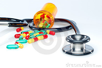Medical Pills and Stethoscope.