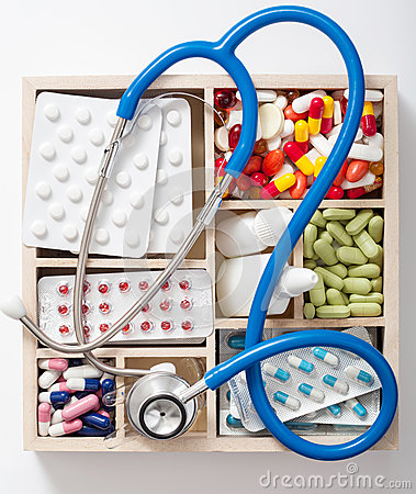 Free Medical Pills Stethoscope Ampules In Wooden Box Stock Images - 36715414
