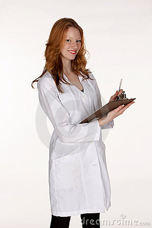 Medical Professional in Lab Coat with Clipboard