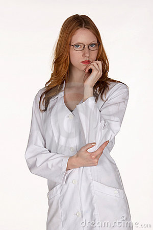 Medical Professional in Lab Coat with Hand on Chin