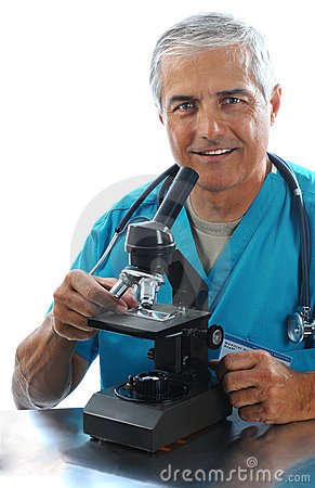 Medical Professional with Microscope