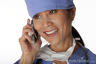 Medical Professional in Scrubs on the Phone. Isola