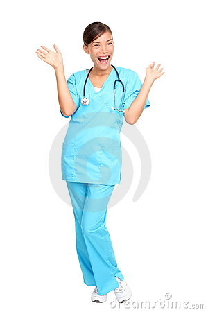 Medical professionals: Nurse excited