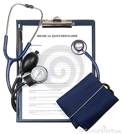 Medical questionnaire in a clipboard isolated