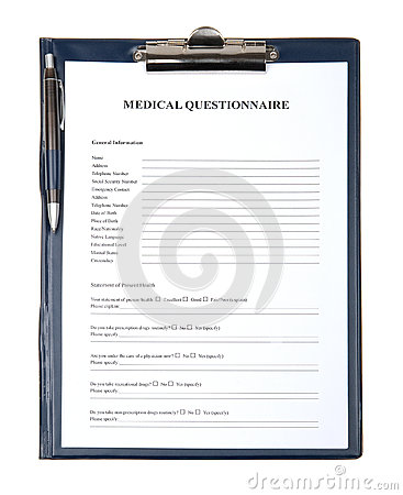 Medical questionnaire document in a clipboard