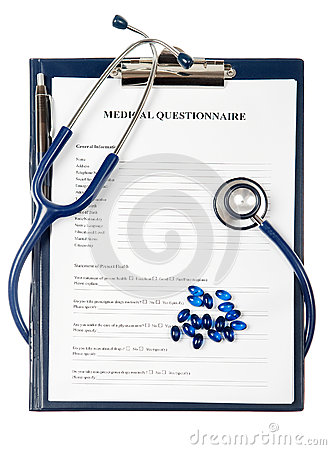 Medical questionnaire document with stethoscope