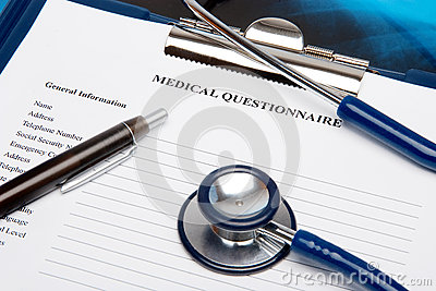 Medical questionnaire with stethoscope
