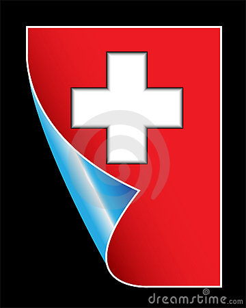 Medical red sign with cross