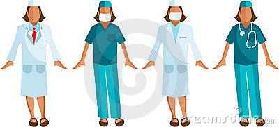 Medical staff Vector Surgeon, Woman Doctor
