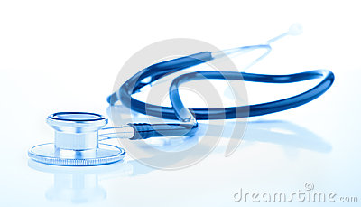 Medical stethoscope on white background